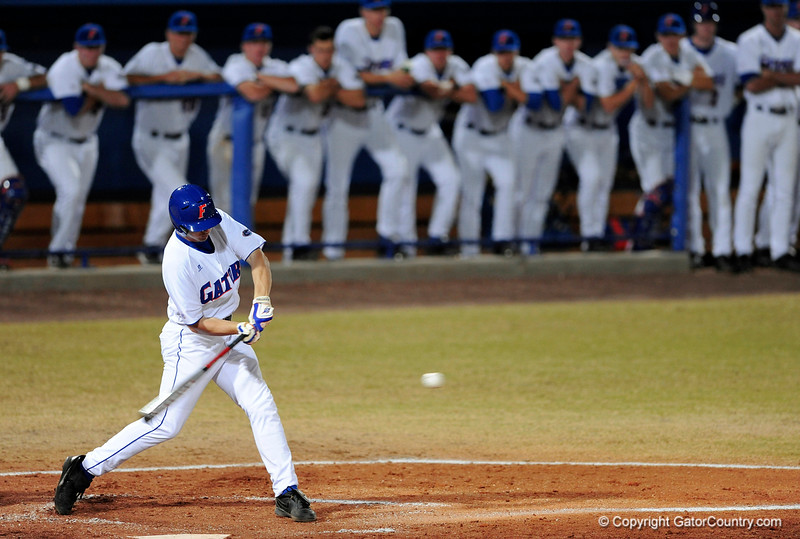 UF sophomore infielder Josh Adams swings during the Gators' 8-5 loss to the Miami Hurricanes at McKethan Stadium / Gator Country photo by Casey Brooke Lawson