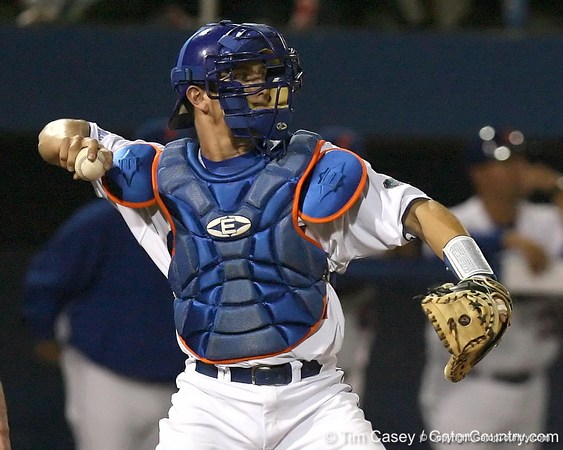 photo by Tim Casey<br /> <br /> Florida junior catcher Hampton Tignor returns the ball to the pitcher during the ninth inning of the Gators' 8-5 loss to the Miami Hurricanes on Friday, February 27, 2009 at McKethan Stadium in Gainesville, Fla.