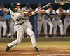 photo by Tim Casey<br /> <br /> Jonathan Weislow hits a three-run home run during the sixth inning of the Gators' 8-5 loss to the Miami Hurricanes on Friday, February 27, 2009 at McKethan Stadium in Gainesville, Fla.
