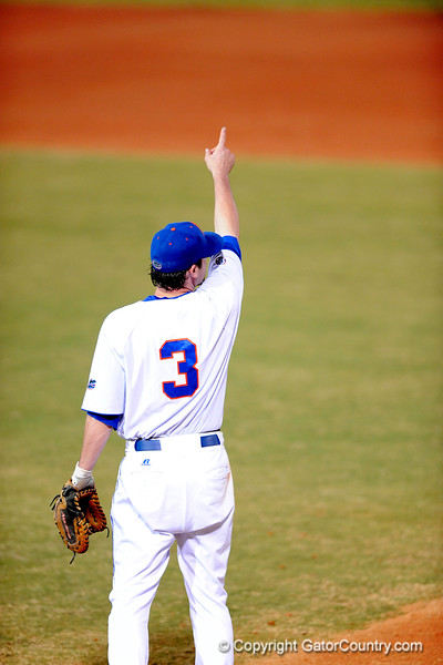 Senior infielder Brandon McArthur points toward the sky during the Gators' 8-5 loss to the Miami Hurricanes at McKethan Stadium / Gator Country photo by Casey Brooke Lawson
