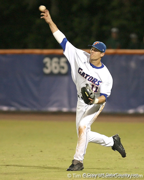 photo by Tim Casey<br /> <br /> Florida sophomore outfielder Riley Cooper throws the ball to the cutoff man during the eighth inning of the Gators' 8-5 loss to the Miami Hurricanes on Friday, February 27, 2009 at McKethan Stadium in Gainesville, Fla.