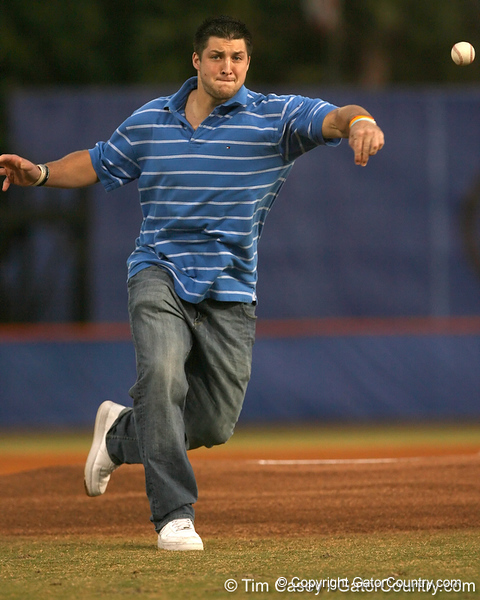 photo by Tim Casey<br /> <br /> Florida senior quarterback Tim Tebow throws out the first pitch during the Gators' 8-5 loss to the Miami Hurricanes on Friday, February 27, 2009 at McKethan Stadium in Gainesville, Fla.
