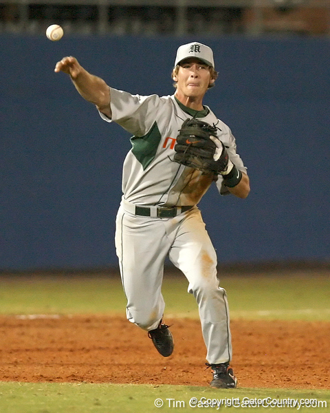 photo by Tim Casey<br /> <br /> Chris Herrmann throws out Clayton Pisani during the fifth inning of the Gators' 8-5 loss to the Miami Hurricanes on Friday, February 27, 2009 at McKethan Stadium in Gainesville, Fla.