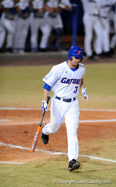 Senior infielder Brandon McArthur runs toward first base after hitting a foul ball during the Gators' 8-5 loss to the Miami Hurricanes at McKethan Stadium / Gator Country photo by Casey Brooke Lawson