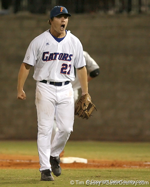 photo by Tim Casey<br /> <br /> Florida senior pitcher Patrick Keating reacts after the third out during the third inning of the Gators' 8-5 loss to the Miami Hurricanes on Friday, February 27, 2009 at McKethan Stadium in Gainesville, Fla.