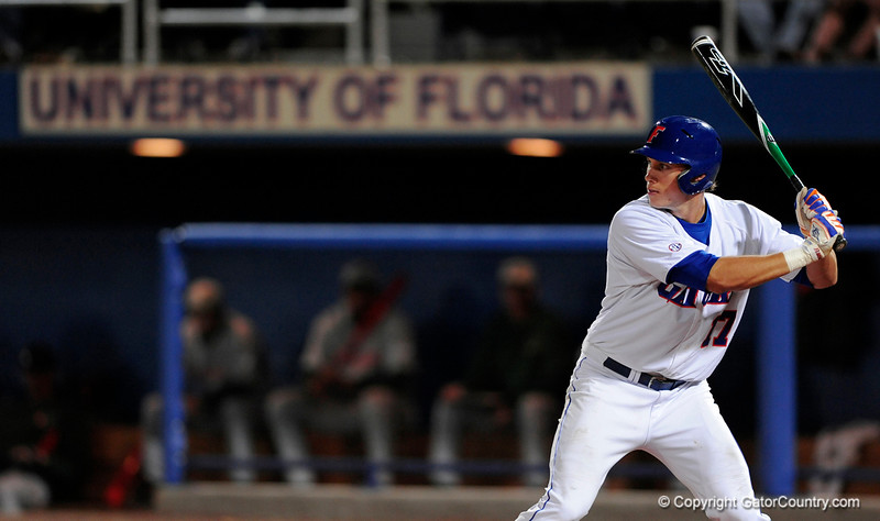Junior LHP Mike Mooney prepares to hit the ball during the Gators' 8-5 loss to the Miami Hurricanes at McKethan Stadium / Gator Country photo by Casey Brooke Lawson