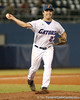 photo by Tim Casey<br /> <br /> Florida senior pitcher Patrick Keating throws to first base during the sixth inning of the Gators' 8-5 loss to the Miami Hurricanes on Friday, February 27, 2009 at McKethan Stadium in Gainesville, Fla.