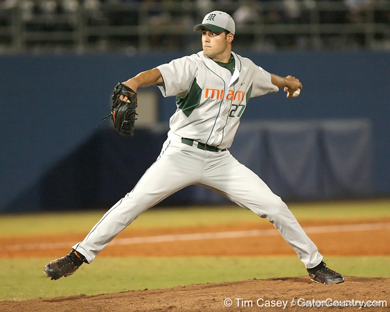 photo by Tim Casey<br /> <br /> Chris Hernandez winds up during the fifth inning of the Gators' 8-5 loss to the Miami Hurricanes on Friday, February 27, 2009 at McKethan Stadium in Gainesville, Fla.