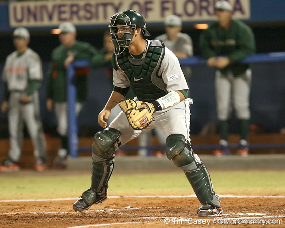 photo by Tim Casey<br /> <br /> Yasmani Grandal awaits a throw from left field during the third inning of the Gators' 8-5 loss to the Miami Hurricanes on Friday, February 27, 2009 at McKethan Stadium in Gainesville, Fla.