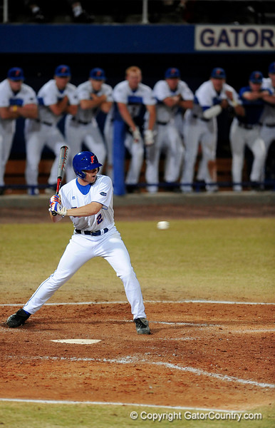 Sophomore infielder Josh Adams prepares to hit the ball during the Gators' 8-5 loss to the Miami Hurricanes at McKethan Stadium / Gator Country photo by Casey Brooke Lawson