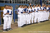 photo by Tim Casey<br /> <br /> Florida baseball head coach Kevin O'Sullivan listens to the national anthem before the Gators' 8-5 loss to the Miami Hurricanes on Friday, February 27, 2009 at McKethan Stadium in Gainesville, Fla.