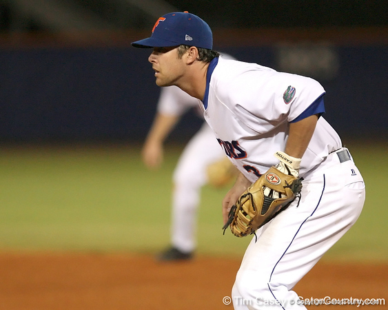 photo by Tim Casey<br /> <br /> Florida senior first baseman Brandon McArthur readies for a pitch during the seventh inning of the Gators' 8-5 loss to the Miami Hurricanes on Friday, February 27, 2009 at McKethan Stadium in Gainesville, Fla.