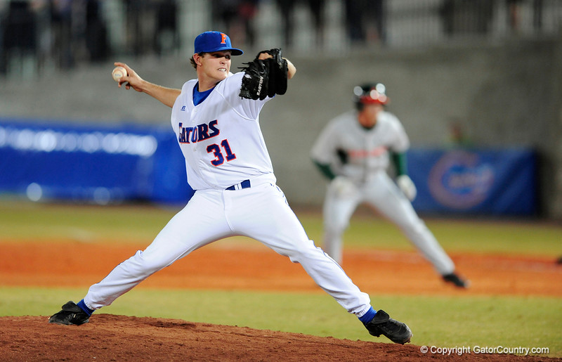 UF freshman RHP Will Jolin pitches during the Gators' 8-5 loss to the Miami Hurricanes at McKethan Stadium / Gator Country photo by Casey Brooke Lawson