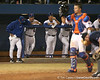 photo by Tim Casey<br /> <br /> Florida baseball head coach Kevin O'Sullivan reacts after a wild pitch by Will Jolin during the eighth inning of the Gators' 8-5 loss to the Miami Hurricanes on Friday, February 27, 2009 at McKethan Stadium in Gainesville, Fla.
