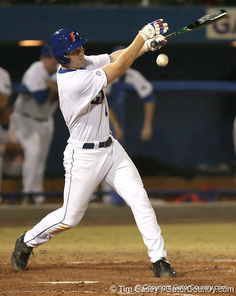 photo by Tim Casey<br /> <br /> Florida junior Clayton Pisani grounds out to the pitcher during the eighth inning of the Gators' 8-5 loss to the Miami Hurricanes on Friday, February 27, 2009 at McKethan Stadium in Gainesville, Fla.