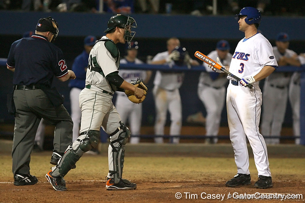 photo by Tim Casey<br /> <br /> Florida senior first baseman Brandon McArthur strikes out looking for the final out of the Gators' 8-5 loss to the Miami Hurricanes on Friday, February 27, 2009 at McKethan Stadium in Gainesville, Fla.