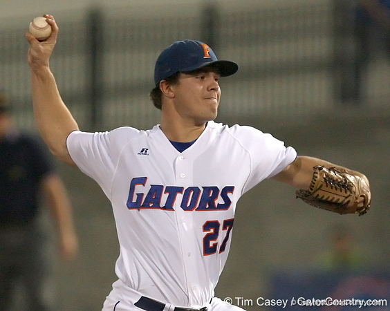 photo by Tim Casey<br /> <br /> Florida senior pitcher Patrick Keating winds up during the first inning of the Gators' 8-5 loss to the Miami Hurricanes on Friday, February 27, 2009 at McKethan Stadium in Gainesville, Fla.