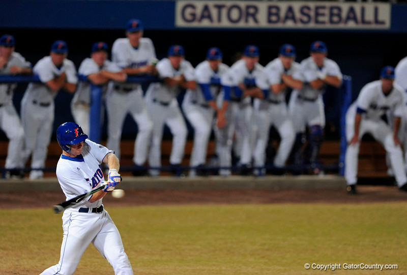 Junior infielder Clayton Pisani prepares to hit the ball during the Gators' 8-5 loss to the Miami Hurricanes at McKethan Stadium / Gator Country photo by Casey Brooke Lawson