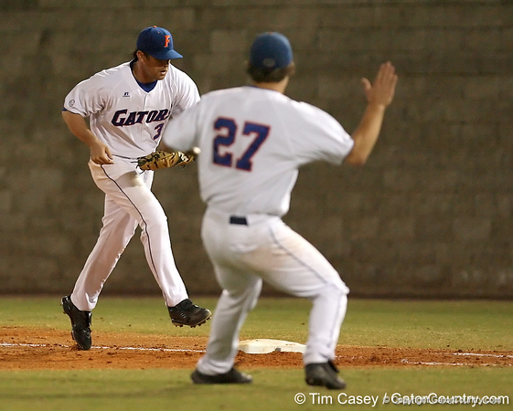photo by Tim Casey<br /> <br /> Florida senior first baseman Brandon McArthur steps on first base  during the third inning of the Gators' 8-5 loss to the Miami Hurricanes on Friday, February 27, 2009 at McKethan Stadium in Gainesville, Fla.