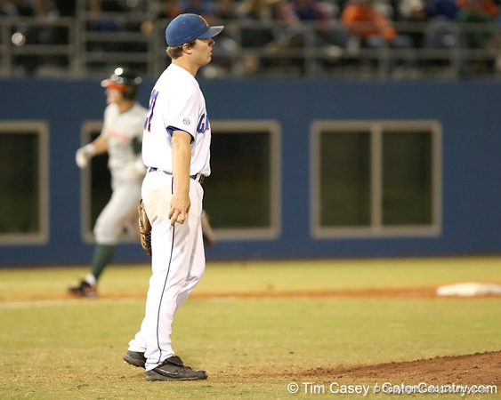 photo by Tim Casey<br /> <br /> Florida senior pitcher Patrick Keating reacts after allowing a home run during the sixth inning of the Gators' 8-5 loss to the Miami Hurricanes on Friday, February 27, 2009 at McKethan Stadium in Gainesville, Fla.