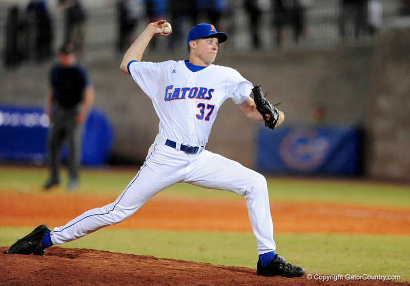 UF freshman RHP Greg Larson pitches during the Gators' 8-5 loss to the Miami Hurricanes at McKethan Stadium / Gator Country photo by Casey Brooke Lawson