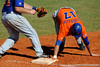Junior Matt den Dekker makes it safely back to first base after attempting to lead off to second during the University of Florida Orange and Blue scrimmage game in Gainesville, Fla on November 8, 2008. (Casey Brooke Lawson / Gator Country)