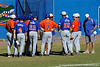 Players of the UF baseball team conference with one of their coaches during the University of Florida Orange and Blue scrimmage game in Gainesville, Fla on November 8, 2008. (Casey Brooke Lawson / Gator Country)