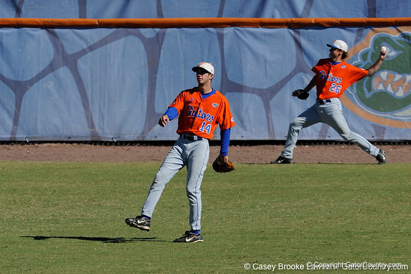 Florida freshman Tyler Thompson watches from the outfield during the University of Florida Orange and Blue scrimmage game in Gainesville, Fla on November 8, 2008. (Casey Brooke Lawson / Gator Country)