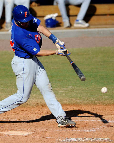 Junior catcher Hampton Tignor takes a swing during the University of Florida Orange and Blue scrimmage game in Gainesville, Fla on November 8, 2008. (Casey Brooke Lawson / Gator Country)