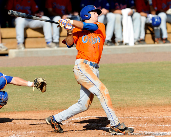 Senior Avery Barnes takes a swing during the University of Florida Orange and Blue scrimmage game in Gainesville, Fla on November 8, 2008. (Casey Brooke Lawson / Gator Country)