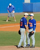 Senior Teddy Foster conferences with Jeff Barfield during the University of Florida Orange and Blue scrimmage game in Gainesville, Fla on November 8, 2008. (Casey Brooke Lawson / Gator Country)