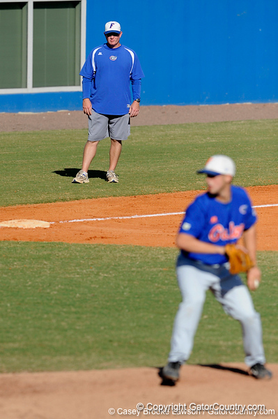Florida baseball assistant coach Craig Bell watches during the University of Florida Orange and Blue scrimmage game in Gainesville, Fla on November 8, 2008. (Casey Brooke Lawson / Gator Country)