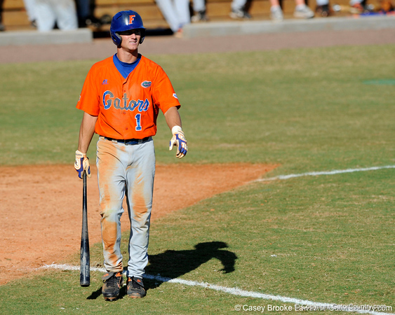 Senior Avery Barnes walks away from home plate after striking out during the University of Florida Orange and Blue scrimmage game in Gainesville, Fla on November 8, 2008. (Casey Brooke Lawson / Gator Country)