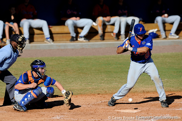 Junior catcher Hampton Tignor strikes out during the University of Florida Orange and Blue scrimmage game in Gainesville, Fla on November 8, 2008. (Casey Brooke Lawson / Gator Country)
