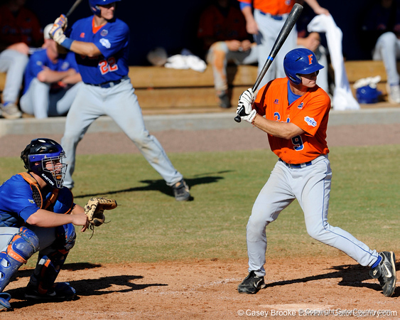 Junior Jonathan Pigott prepares to take a swing during the University of Florida Orange and Blue scrimmage game in Gainesville, Fla on November 8, 2008. (Casey Brooke Lawson / Gator Country)