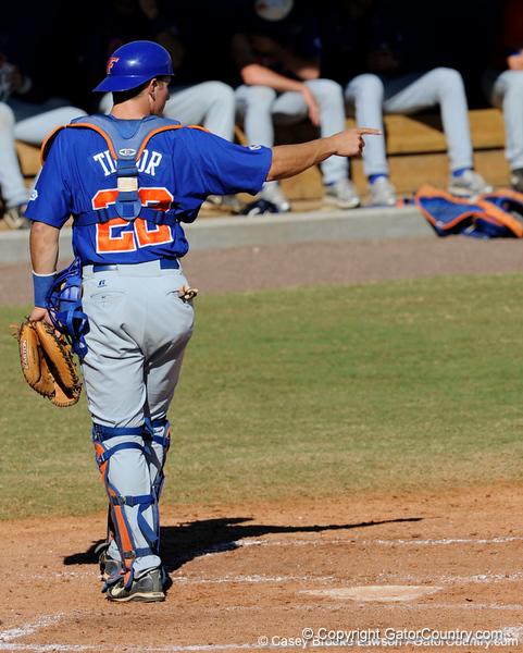 Florida junior catcher Hampton Tignor during the University of Florida Orange and Blue scrimmage game in Gainesville, Fla on November 8, 2008. (Casey Brooke Lawson / Gator Country)