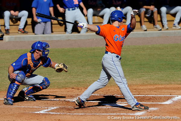 Preston Tucker bats during the University of Florida Orange and Blue scrimmage game in Gainesville, Fla on November 8, 2008. (Casey Brooke Lawson / Gator Country)