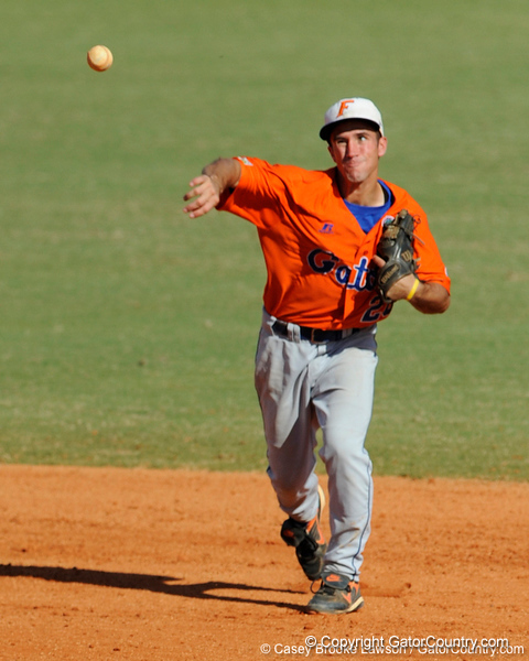 Florida junior Mike Moody throws to first base during the University of Florida Orange and Blue scrimmage game in Gainesville, Fla on November 8, 2008. (Casey Brooke Lawson / Gator Country)