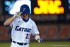 Ben McMahan acknowledges the crowd after hitting a home run in the bottom of the seventh inning during the University of Florida 16-3 win against the University of Central Florida on 4/8/09         Photo by: Tim Darby