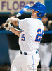 Preston Tucker hits his second grand slam, and his third home run in a row in the bottom of the seventh inning during the University of Florida 16-3 win against the University of Central Florida on 4/8/09         Photo by: Tim Darby