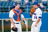 Alex Panteliodis talks with Teddy Foster after coming in to relieve Justin Poovey during the University of Florida 16-3 win against the University of Central Florida on 4/8/09         Photo by: Tim Darby