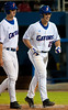 Preston Tucker walks back to the dugout after hitting his third home run in a row in the bottom of the seventh inning during the University of Florida 16-3 win against the University of Central Florida on 4/8/09         Photo by: Tim Darby