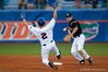 Josh Adams slides into second attempting to break up a double play during the University of Florida 16-3 win against the University of Central Florida on 4/8/09         Photo by: Tim Darby