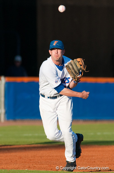 Brandon McArthur throws to first during the University of Florida 16-3 win against the University of Central Florida on 4/8/09         Photo by: Tim Darby