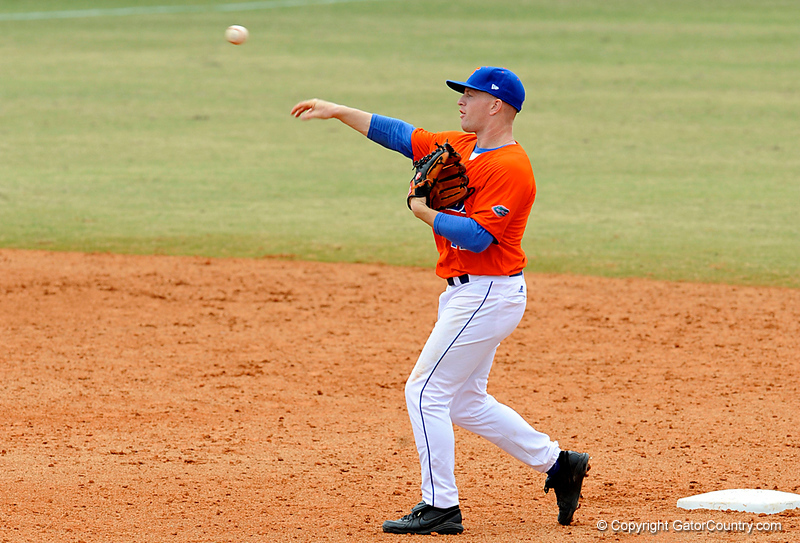 """(Casey Brooke Lawson / Gator Country) Jerico Weitzel throws the ball during the University of Florida """"Meet the Team"""" event for UF baseball on Saturday, February 14, 2009."""