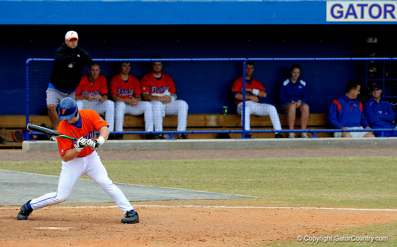 """(Casey Brooke Lawson / Gator Country) Mike Mooney prepares to bat during the University of Florida """"Meet the Team"""" event for UF baseball on Saturday, February 14, 2009."""