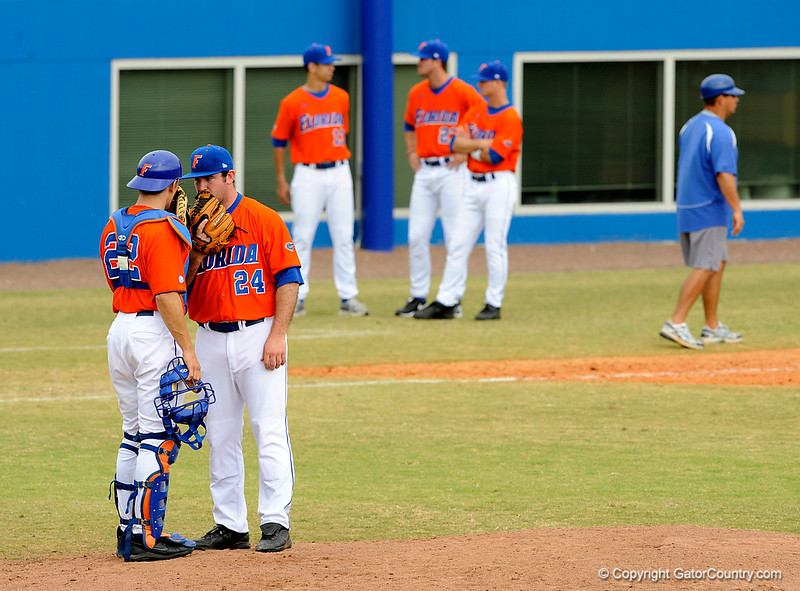 """(Casey Brooke Lawson / Gator Country) Hampton Tignor and Alex Panteliodis conference during the University of Florida """"Meet the Team"""" event for UF baseball on Saturday, February 14, 2009."""