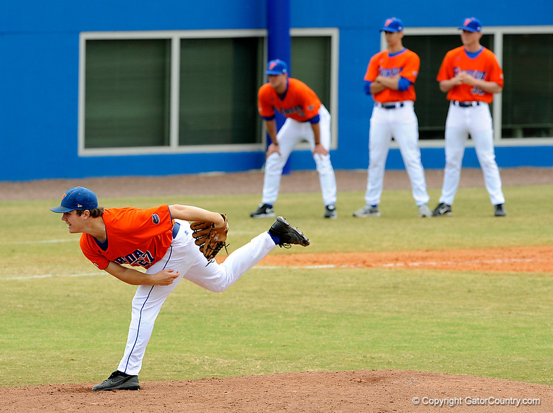 """(Casey Brooke Lawson / Gator Country) Patrick Keating pitches during the University of Florida """"Meet the Team"""" event for UF baseball on Saturday, February 14, 2009."""
