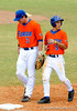 "(Casey Brooke Lawson / Gator Country) Brandon McArthur and Mike Mooney walk to first base during the University of Florida ""Meet the Team"" event for UF baseball on Saturday, February 14, 2009."