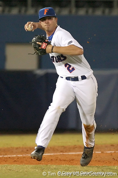 photo by Tim Casey<br /> <br /> Florida sophomore Josh Adams throws out a runner at first base during eighth inning of the Gators' 10-5 win against the Duquesne Dukes on Friday, March 6, 2009 at McKethan Stadium in Gainesville, Fla.